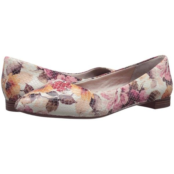 Rockport Total Motion Adelyn Ballet (Pink Floral Leather) Women's... ($88) ❤ liked on Polyvore featuring shoes, flats, multi, leather pointy toe flats, pink ballet flats, ballet pumps, leather ballet flats and ballet flats