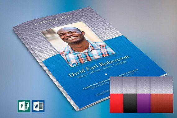 Blue Diamond Funeral Program Word Publisher Template ( 5 Color