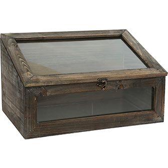 Mahogany Brown Wooden Display Case