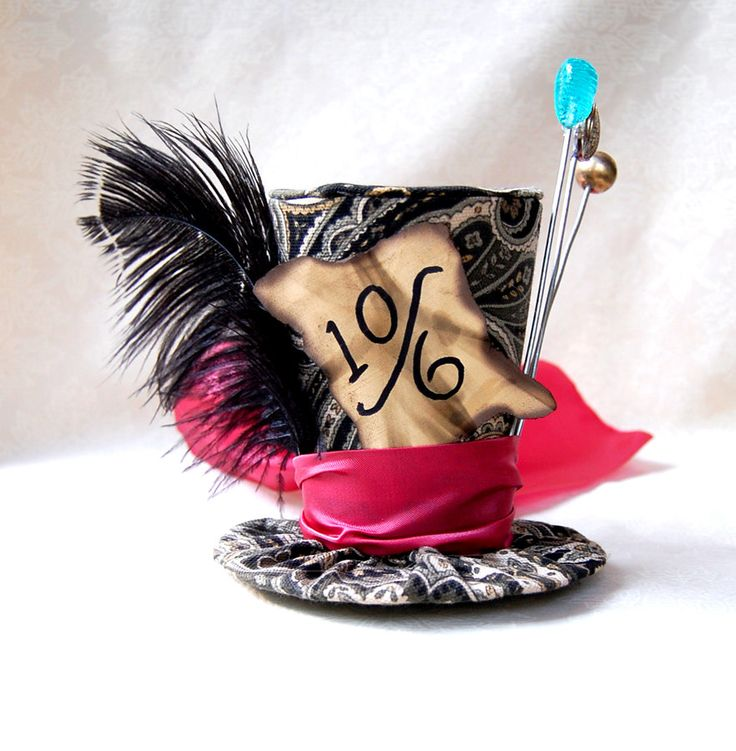 Tiny Top Hat: Classic Mad Hatter - The Mad Hatter Tea Party Alice in Wonderland Through the Looking Glass unbirthday Costume Cosplay party. $35.00, via Etsy.