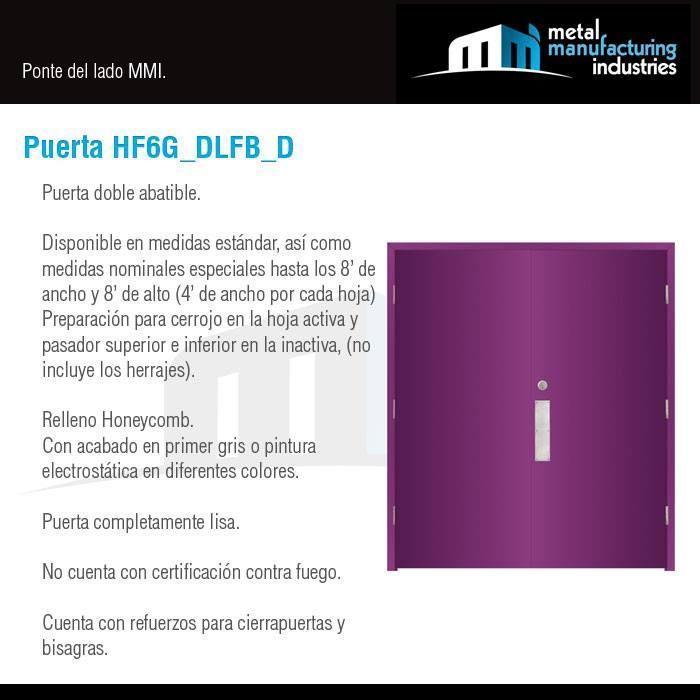 La puerta HF6G_DLFB_D es ideal para espacios al exterior en contacto con la lluvia, sol, brisa marina para mayor resistencia a la corrosión, que necesitan de completa privacidad y mayor amplitud en el vano para el flujo de personas o mobiliario y equipo de considerables dimensiones, donde la mayor parte del tiempo se necesita de un acceso libre, pero en ciertos horarios se requiere asegurar el espacio, como pasillos, vestidores, bodegas, oficinas y salones a un nivel industrial, comercial o…