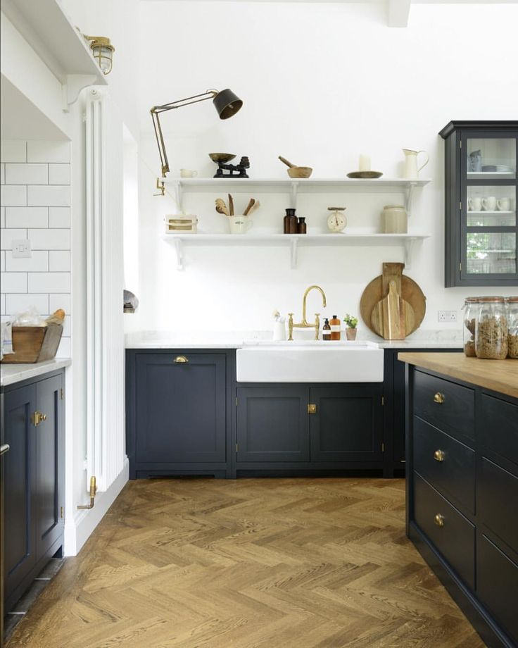"""1,357 Likes, 11 Comments - deVOL Kitchens (@devolkitchens) on Instagram: """"Parquet and Pantry Blue, a classic combination that we're still completely in love with. The wood…"""""""