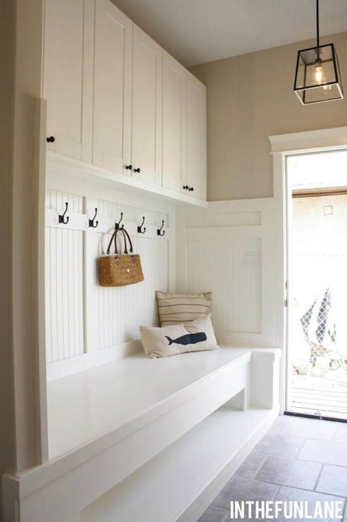 Storage Above Coat Rack Amp Bench In Mudroom Laundry Room I Also Love The Pretty Lights That
