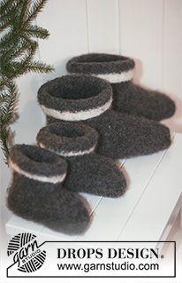"""House Elves - Gebreide en gevilte DROPS Kerst sloffen van """"Eskimo"""". Maat 21 tot en met 48. - Free pattern by DROPS Design"""