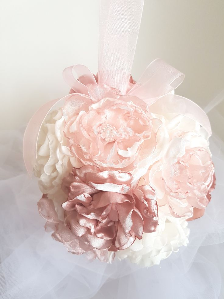 Dusty Rose Pink Bridal Bouquet, Kissing Ball, Wedding Bouquet, Wedding Decor, Pomander. Soft dusty rose, cream and pink organza and satin handmade flowers. A little bling flower enters. Organza handle.  Pew or table decor.