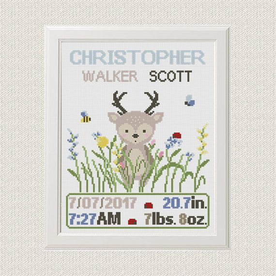 Baby birth Announcement Cross Stitch Pattern Boy Newborn Nursery Parsonalized Animals Deer flower Woodland Wilde Printable PDF Modern