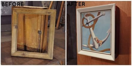 Lara painted the outer portion of this frame white and the rope detail on the inner area brown. The contrasting paint adds interest and draws the eye to the nautical print.