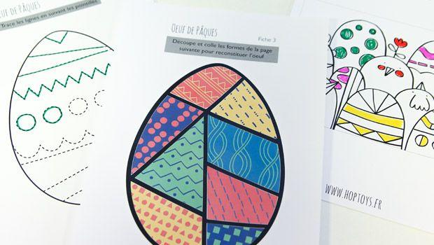 7 planches d'activités pour pouvoir travailler le graphisme, le découpage ou la réflexion tout en s'amusant : Trace ou continue les lignes de l'oeuf de Pâques. Découpe et colle des formes pour reconstituer l'oeuf. Colorie les oeufs et les poules sur une jolie carte. Aide la poule à rejoindre le lapin dans trois labyrinthes de …