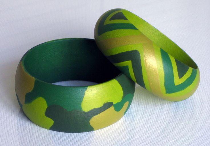 Pulseras CAMUFLAJE verde-ancha + ÉTNICA verde-estrecha