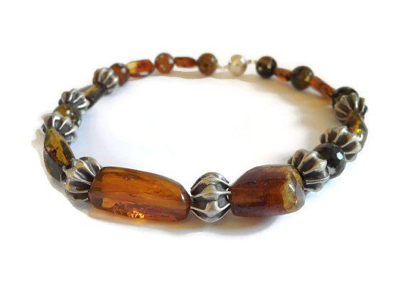 Geel bruin amber ketting handgemaakt kralen door FlorenceJewelshop.  #necklace #amber #thai silver beads #handmade #magnetic clasp #gemstone #giftforher #mothersdaygift