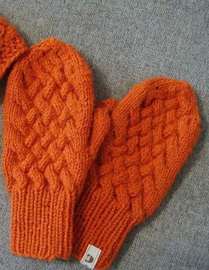 Orange Cabled Knit Mittens Pattern | AllFreeKnitting.com