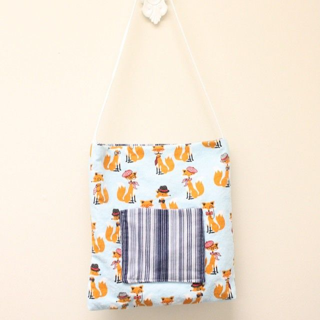 """""""Student project! This foxy cotton flannel is back again. This time one of my younger students made this cute tote with matching pyjamas for sleepovers.…"""""""