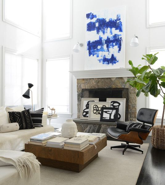 Contemporary Modern Living Room: Large Scale Art Accented In A Window Lit  Contemporary