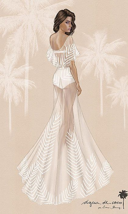 The designer of Isabeli's stunning wedding dress, Agua de Coco, shared an original sketch of the gown.