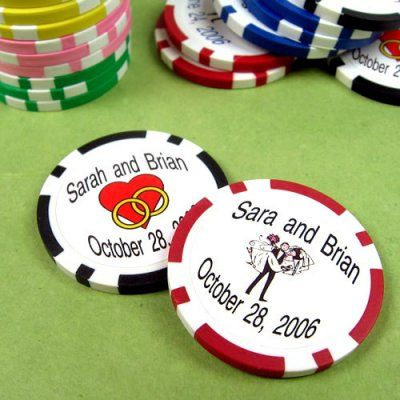 Custom printed wedding poker chips. Could do as drink chips? So many per guest? Keep cost down