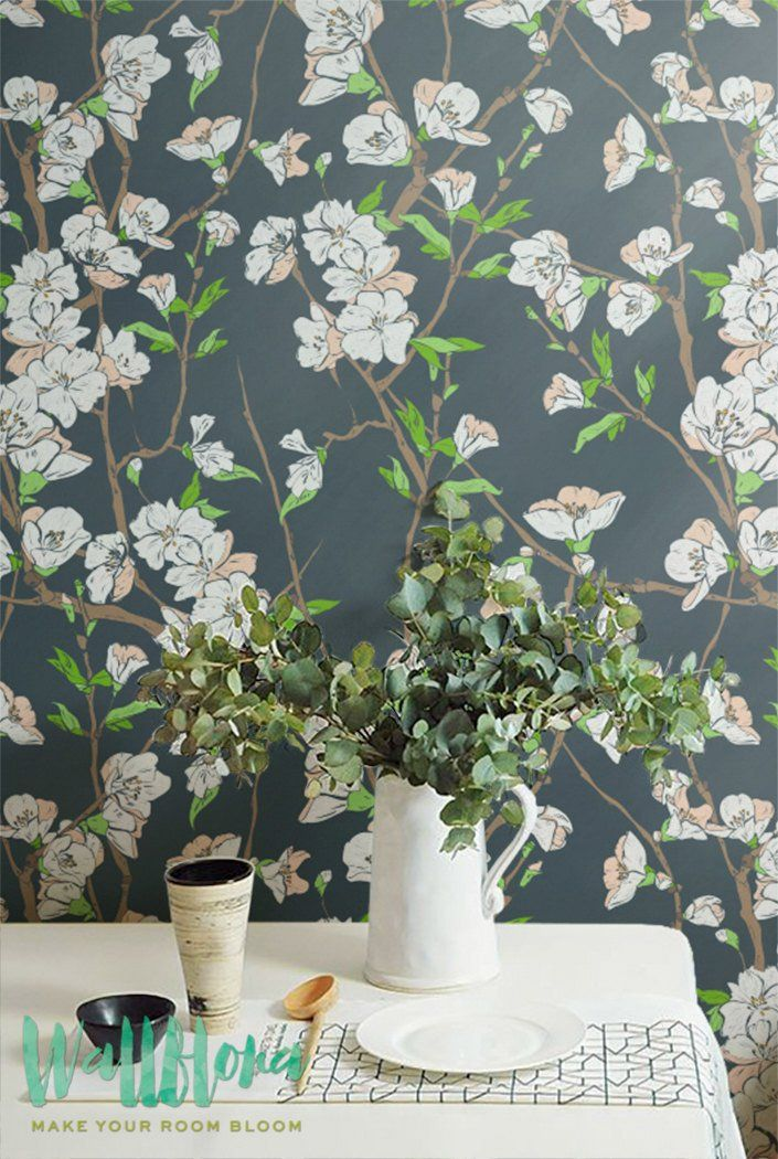 Transform any room in your home into floral paradise with this self-adhesive vinyl CHERRY TREE pattern removable wallpaper!