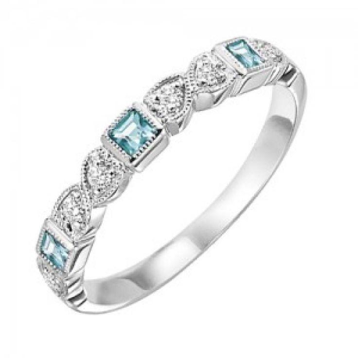 RINGS - 10k White Gold Diamond And Square Aquamarine Birthstone Ring