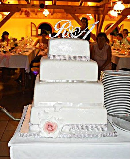 R & A Crystal cake topper