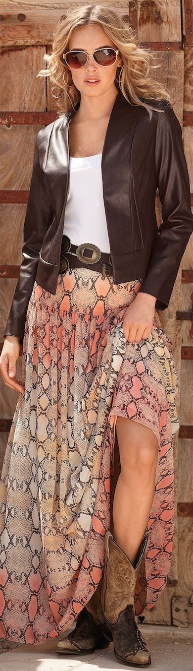 BOHO CHIC with Boston Proper ● Ombre Python Maxi Skirt