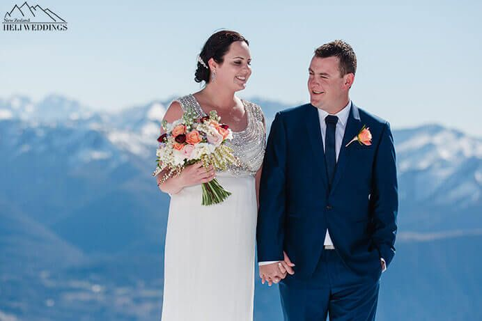 Spring elopement Queenstown, Husband and wife. wedding photos. the ledge. Destination Heli weddings Queenstown.
