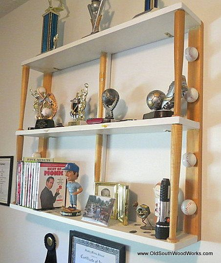 Baseball Themed Shelf By Oldsouthwoodworkscom On Etsy 16500