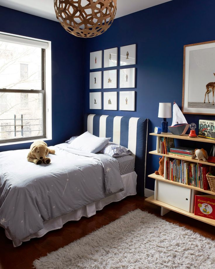 ... boy's bedroom with red and blue accents and striped wallpaper View ...