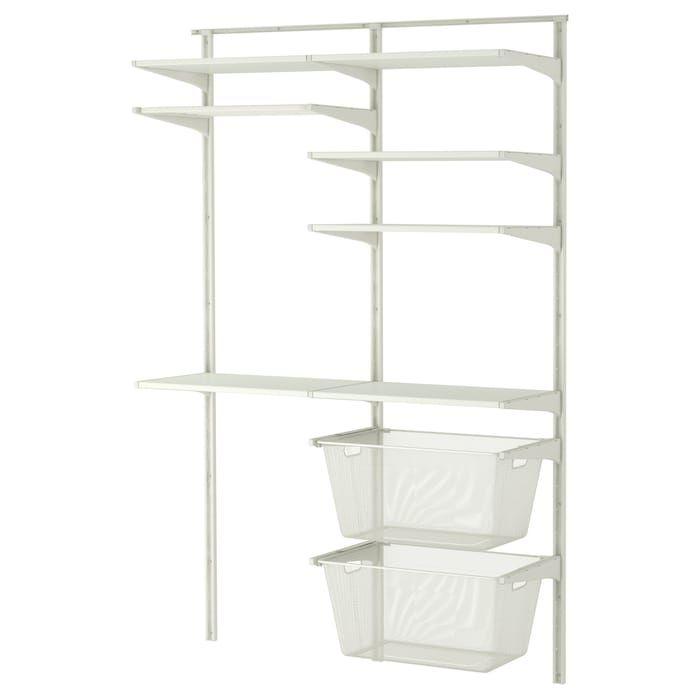 Wall Upright Shelves Drying Rack White 52x16 1 8x78 3 8 Ikea