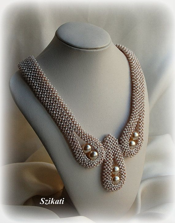 Beaded beige seed bead pearl Right Angle Weave necklace $145.00