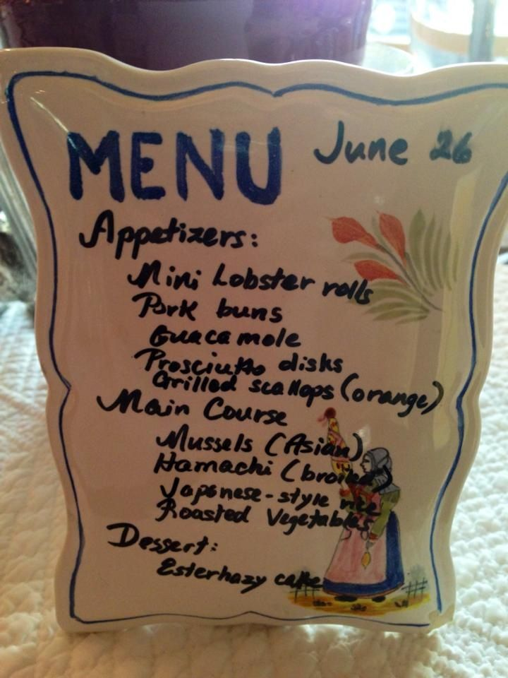 Menu For A Dinner Party Also Serves As A Reminder On What
