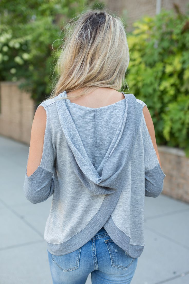 Hooded Cold Shoulder Sweater - Heather Grey