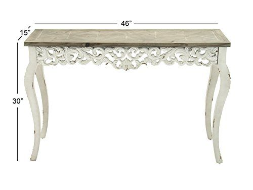Check Out The Deco 79 Wood Farmhouse White Console Table X Which Has A Light Colored Top And Rustic Legs With Unique Design