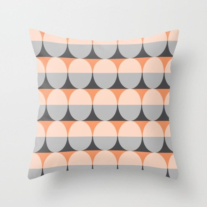 6 colours,  Mid Century Modern Pillow Cover, Charcoal Black, Peach Rose pillow cover, Ellipse Cushion cover, Indoor or Outdoor pillow cover by ThingsThatSing on Etsy