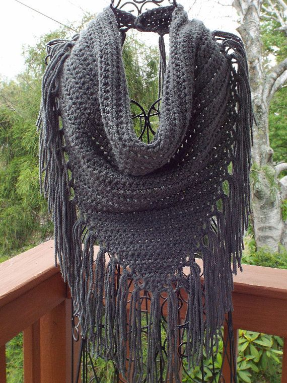 Gray Triangle Scarf Womens Crochet Cowl by ColorMyWorldCrochet