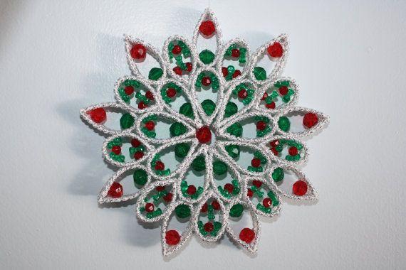 Plastic Canvas Beaded Snowflake Suncatcher