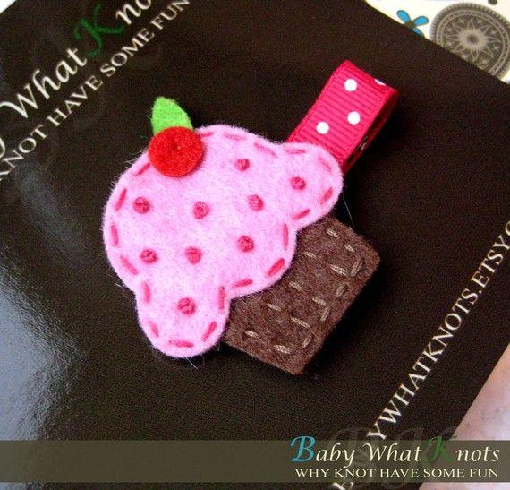 Baby Hair Clip Cupcake Hair Clip Baby Hair by babywhatknots, $3.75