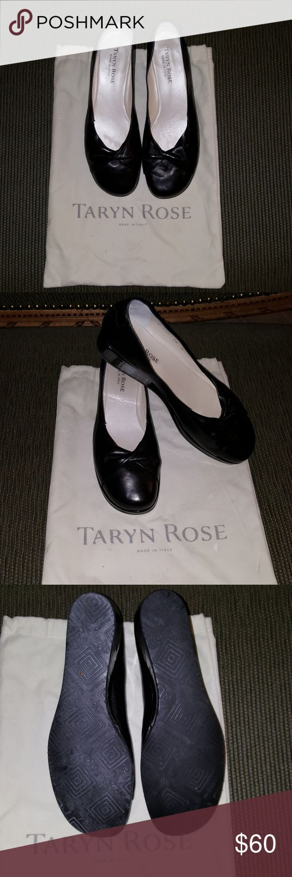 Taryn Rose black shoes Beautiful Taryn Rose black shoes with wedge heel and closed toe. These have only been worn once insides are clean. Very classic but updated Style. These shoes come with the original dust bag but no box. Taryn Rose Shoes Wedges