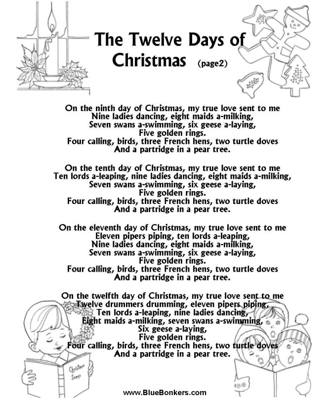 Printable Christmas Carol Lyrics sheet : The Twelve Days of Christmas