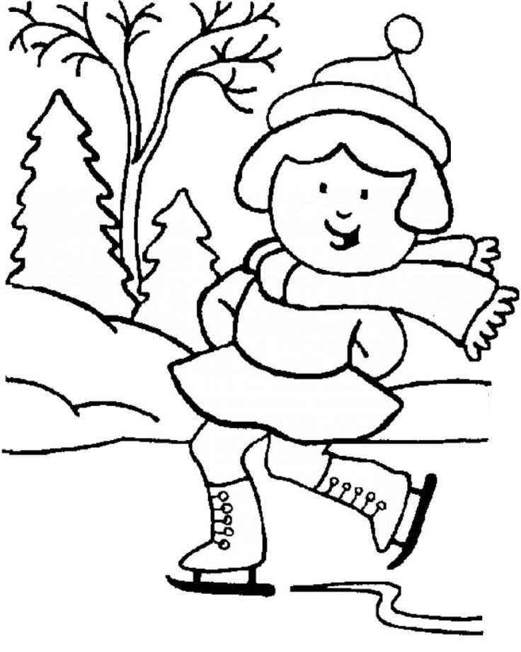 the girl playing sky in winter coloring page - Winter Coloring Pages For Kids