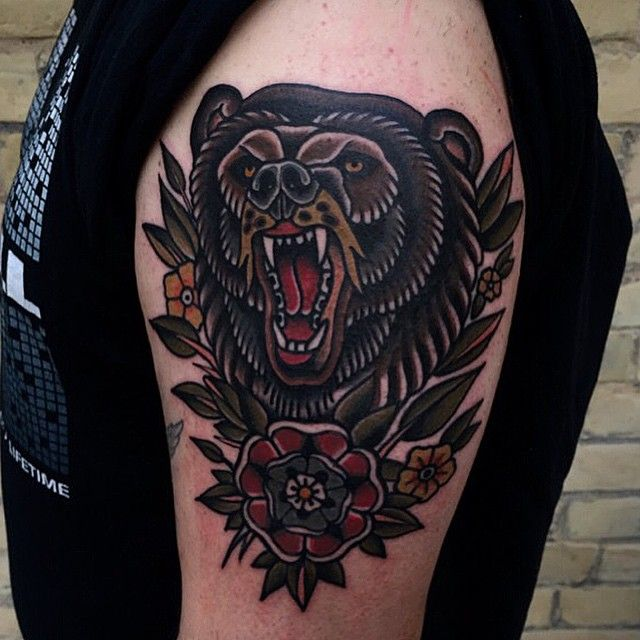 Traditional grizzly bear tattoo - photo#15