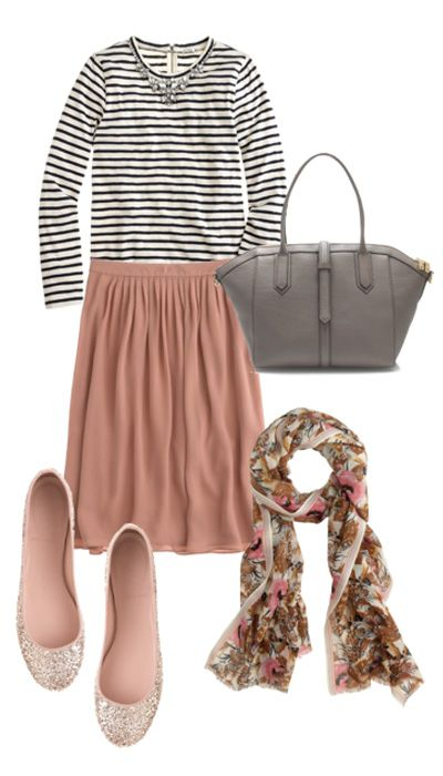 Not sure if I completely like the outfit but I like the principle of the stripes with a solid peach/blush skirt.