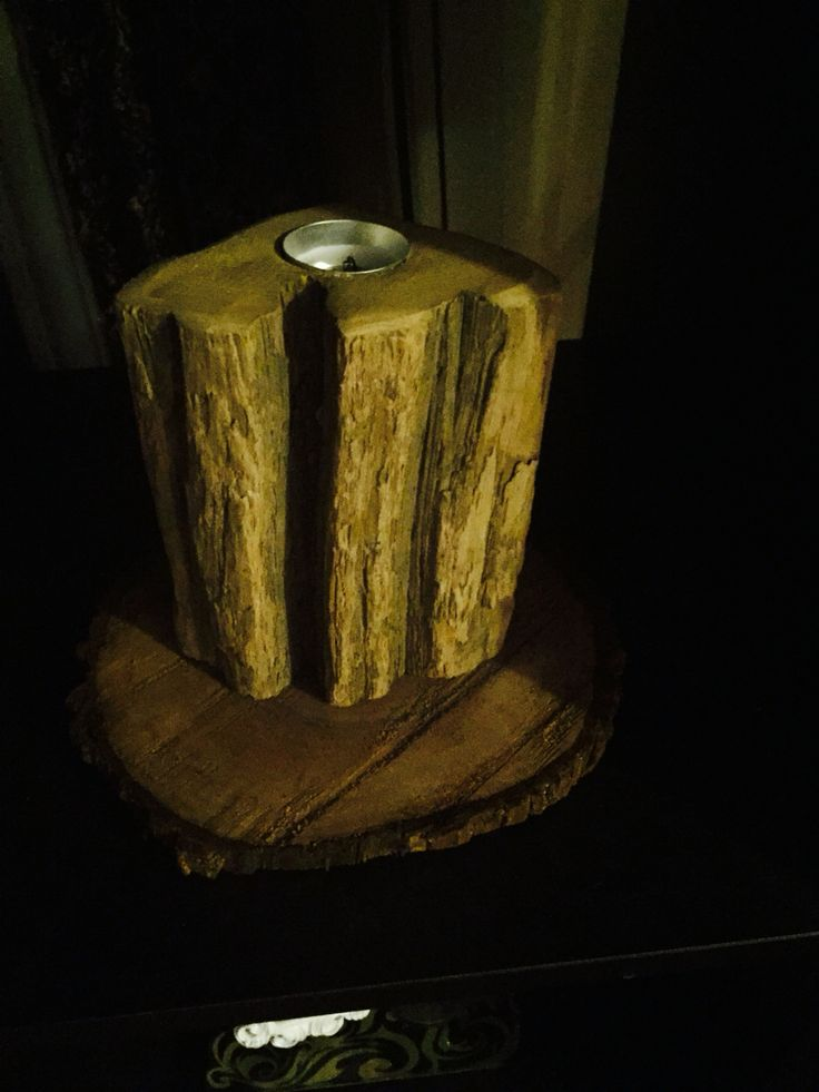 Aged wood.  Rustic. DIY Candle holder