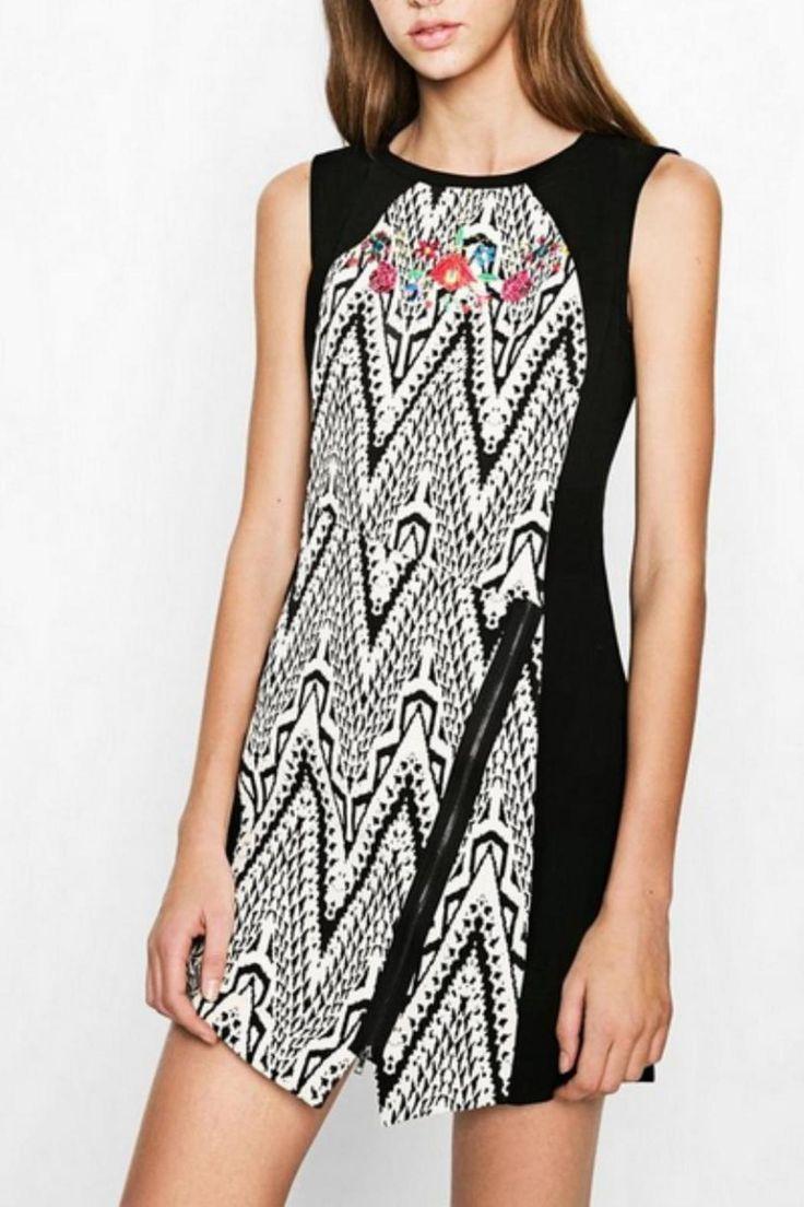 Color block side panel dress pattern