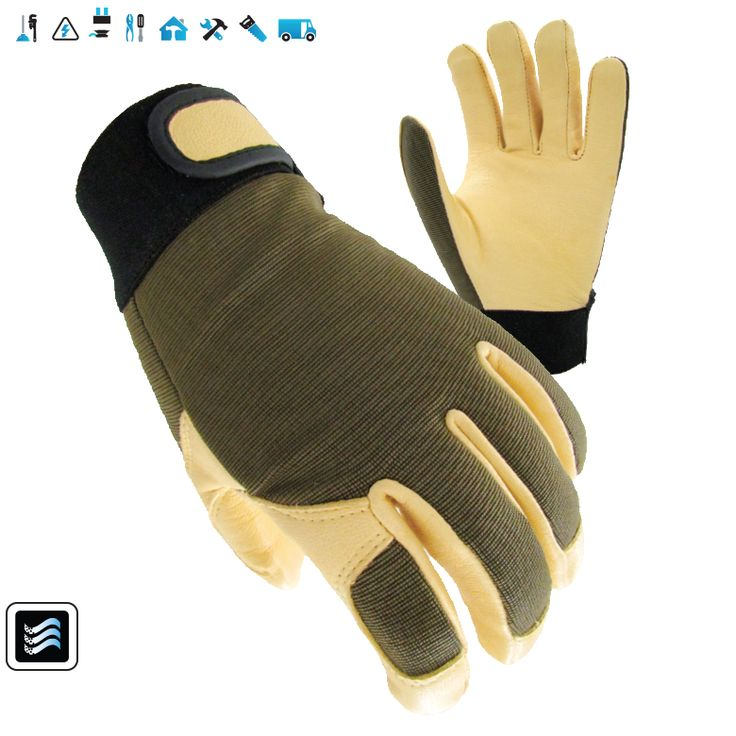 L2: 2-way stretch spandex on back with extra padding for breathable and comfortable back.  Goat skin leather palm with  reinforced thumb and index finger.