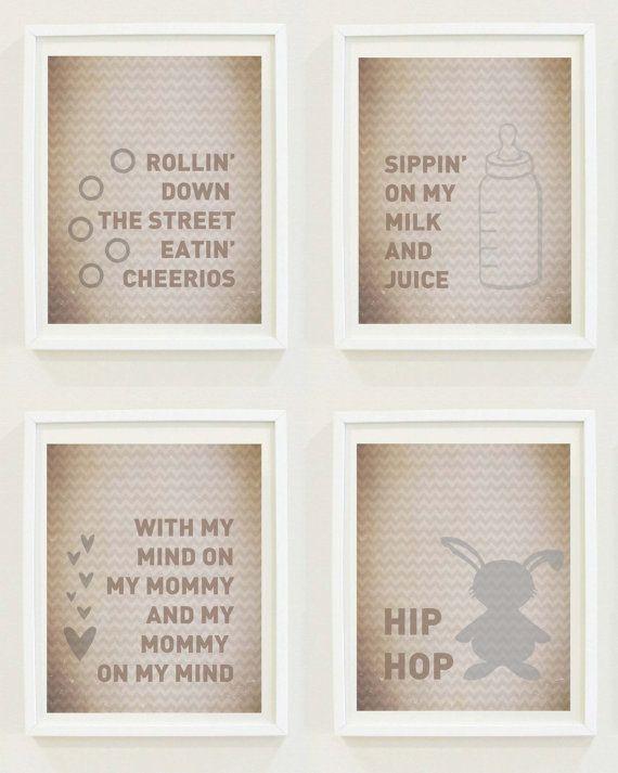 Nursery Prints : Hip Hop Baby - Lyrics - Funny Nursery Art - Wall Art - Mommy-Milk and Juice - Digital