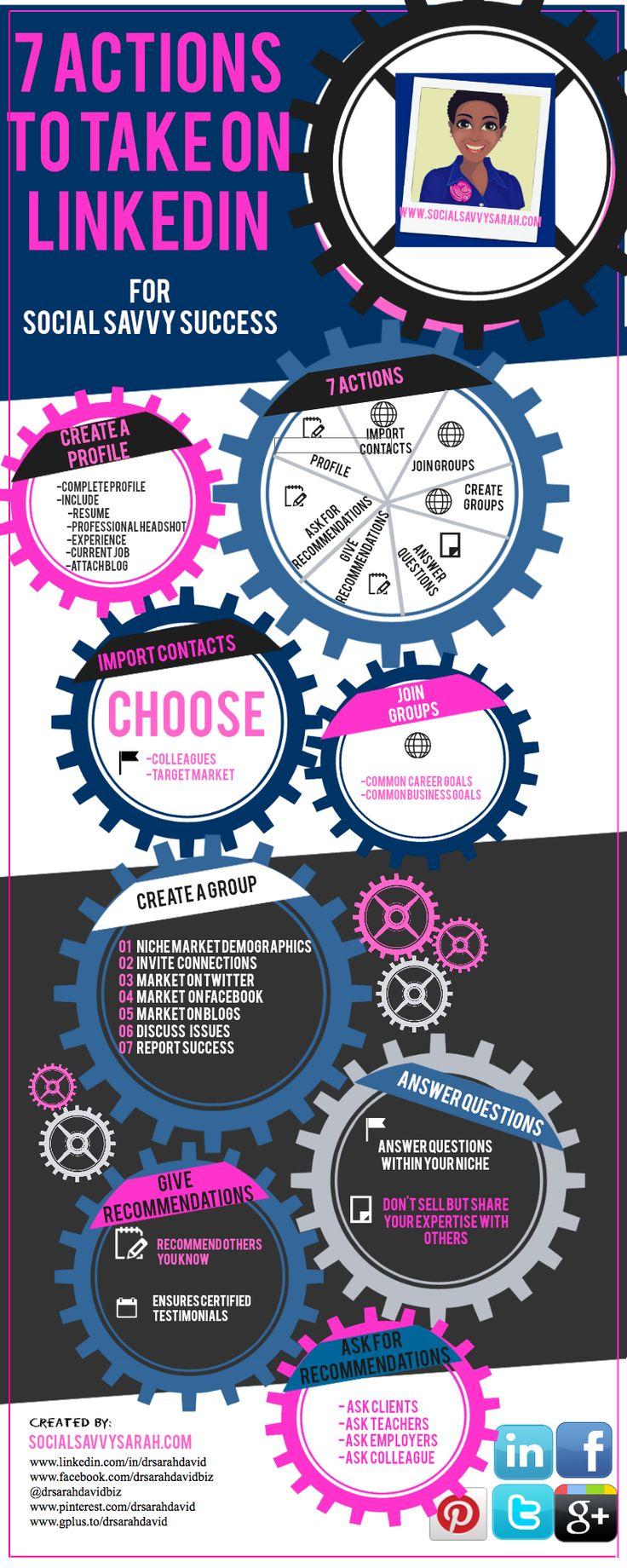 7 acciones a realizar ahora en Linkedin para tu empresa #infografia #infographic #socialmedia