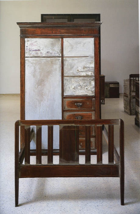 Doris Salcedo  Wood, concrete, fabric.