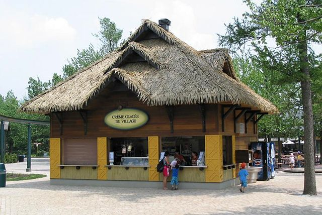 The neatly structured impression of this thatch roof at Granby Zoo