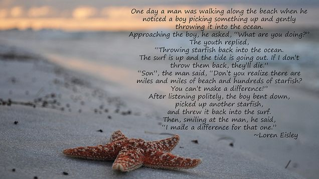 The story of the starfish.  This would be another great gift idea for any type of teacher or therapist.