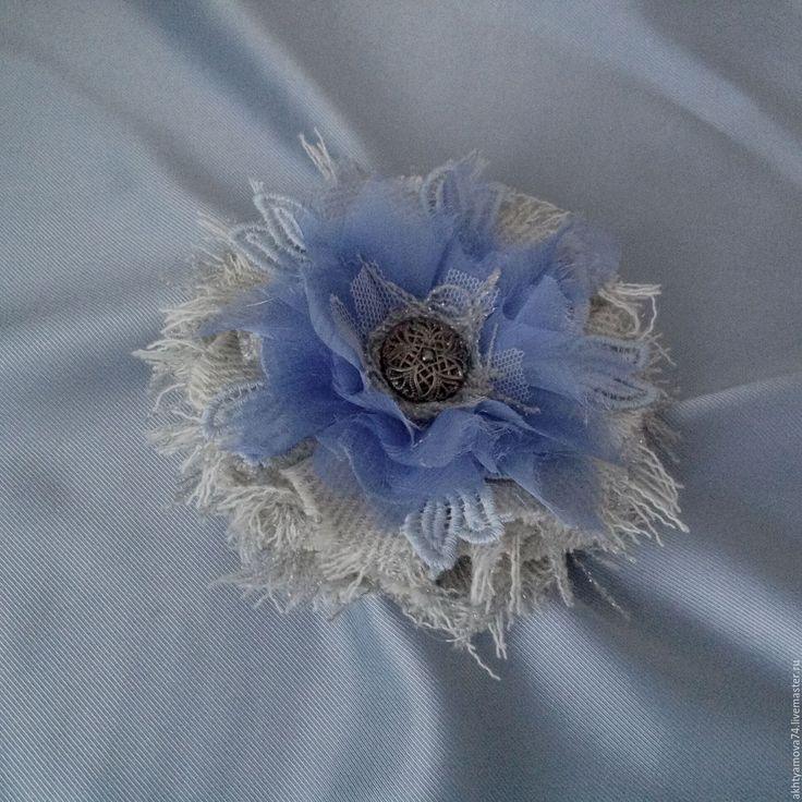 Купить Акция!!! Винтажная брошь Шанель Голубой снег - голубой, нежно голубой, серо-голубой