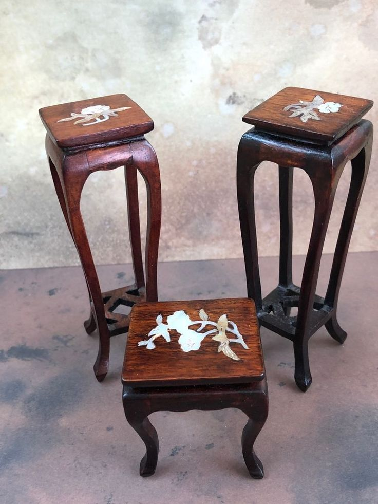 Miniature Dollhouse Vintage Set 2 Tall Plant Stands Tea Table Mother of Pearl #Unknown